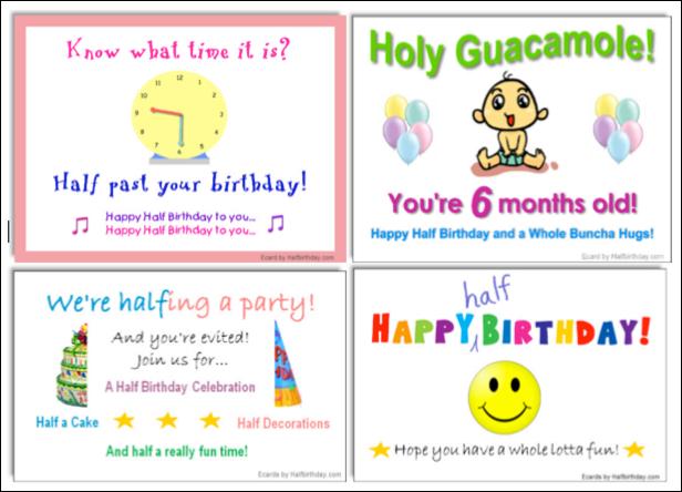 half birthday ecards evites